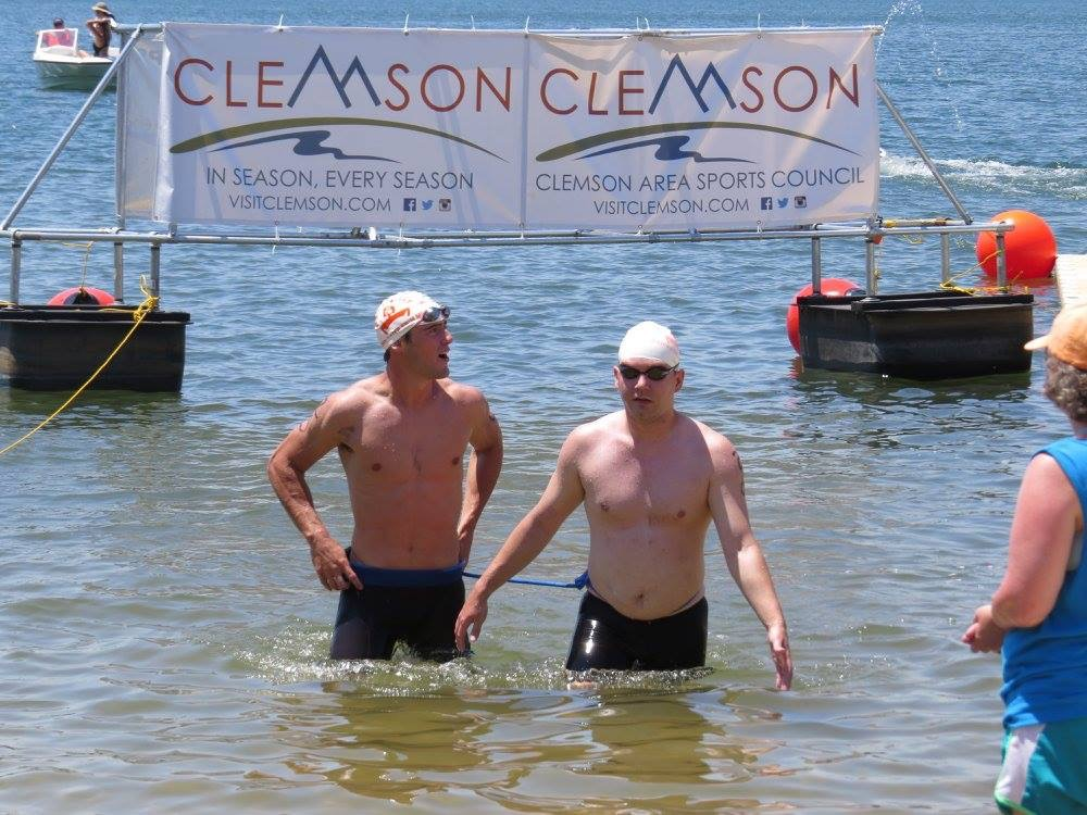 Patrick Vellia and Joe MacGregor completing the 1K event at Death Valley Open Water Swim Meet 2016