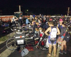 At IRONMAN 70.3 Augusta 2016, there were 4 blind athletes competing using tandem bikes. This image shows the Tandem Palace of the Transition Area before we go to the starting line.